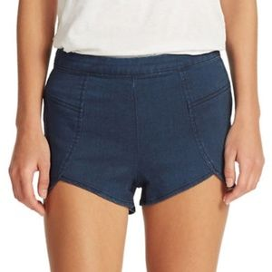 Free People Denim Petal Shorts Dark Wash